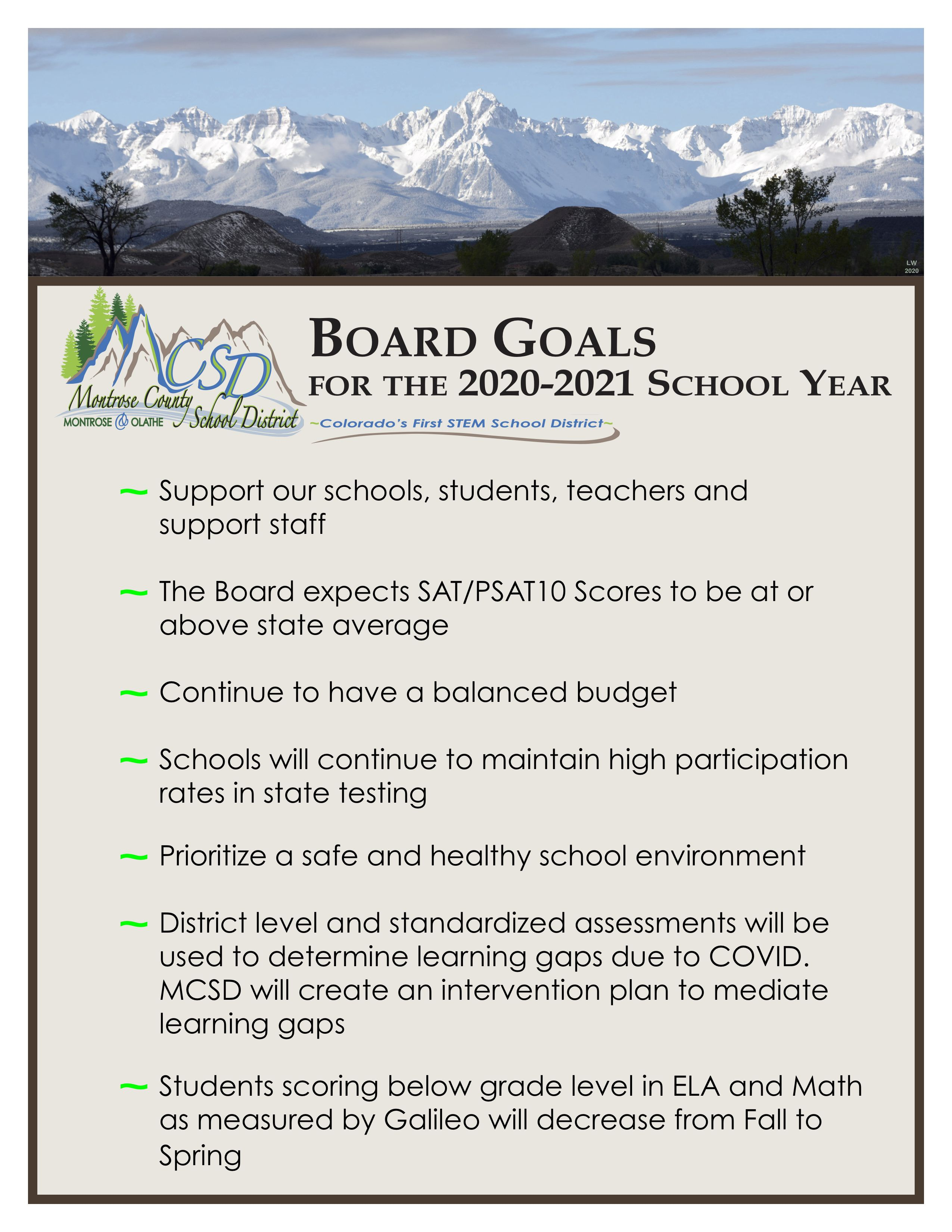 2020-2021 Board Goals