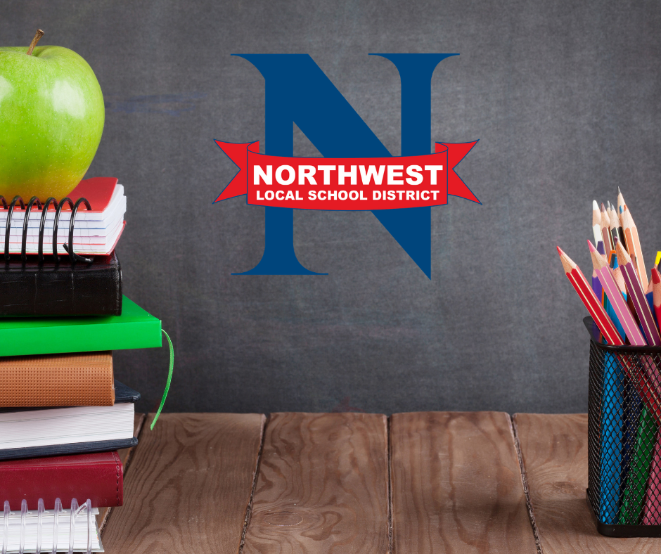 Northwest Local Schools District logo, pencils, books, and an apple