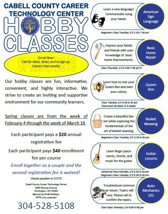 Hobby Classes flyer