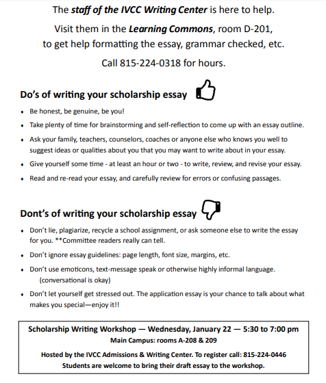 IVCC Writing Center information