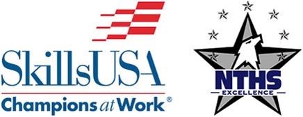 SkillsUSA logo and NTHS logo