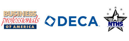 Business Professionals of America logo, DECA logo, and NTHS logo