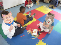 Children making animal masks