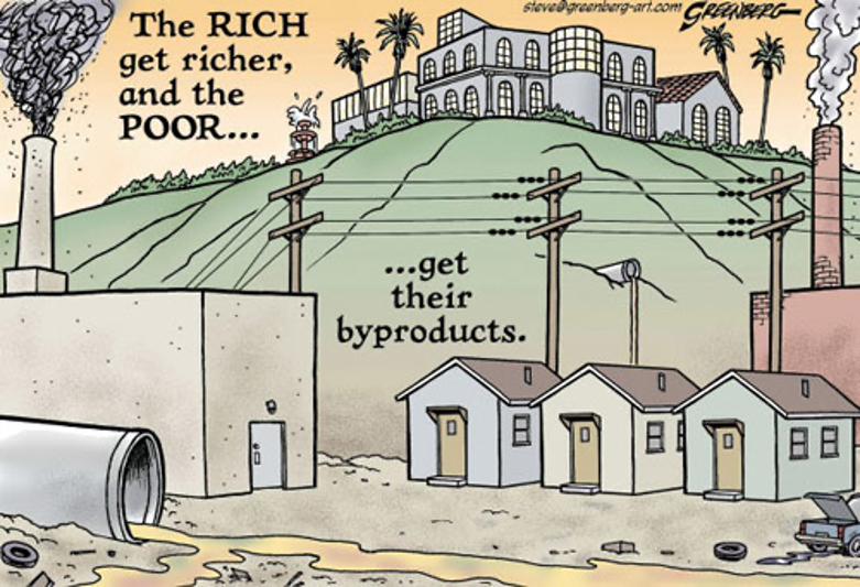 Cartoon depicting a mansion on the hill overlooking small homes in the midst of pollution and industrial runoff. The caption reads 'The rich get richer, and the poor get their byproducts'.