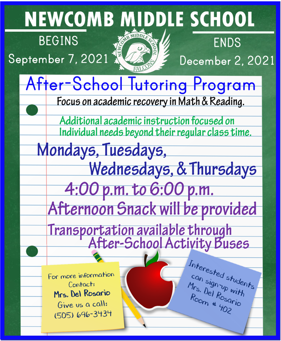 Newcomb Middle School - After School Tutoring Flyer