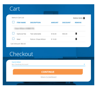 Cart and checkout button