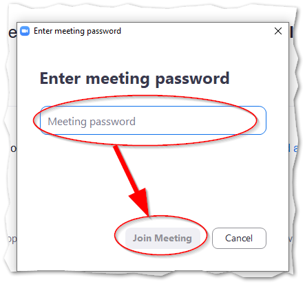 Enter password and click on join meeting