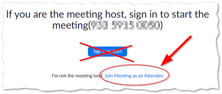 Click on Join Meeting as an Attendee