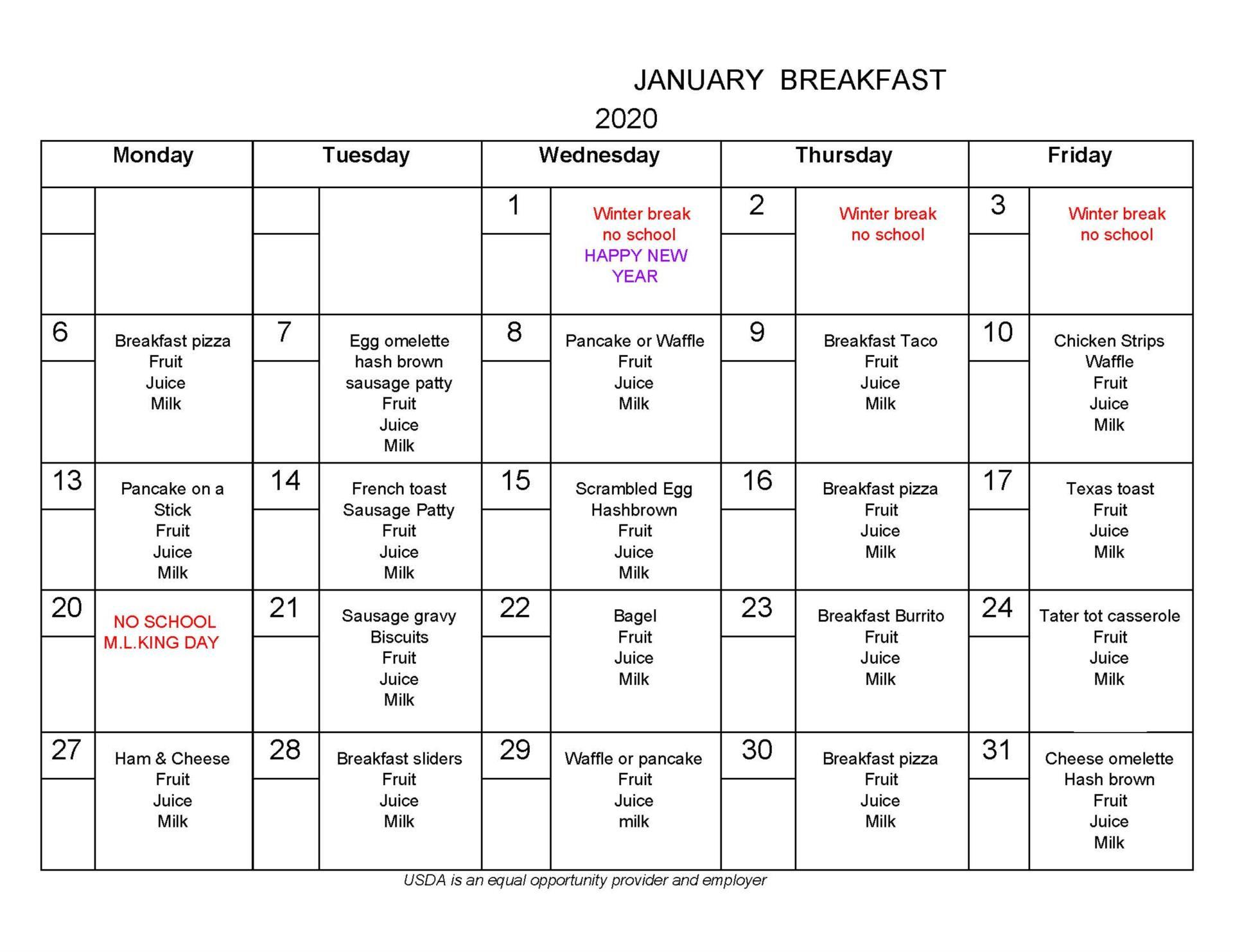 January Breakfast Menu