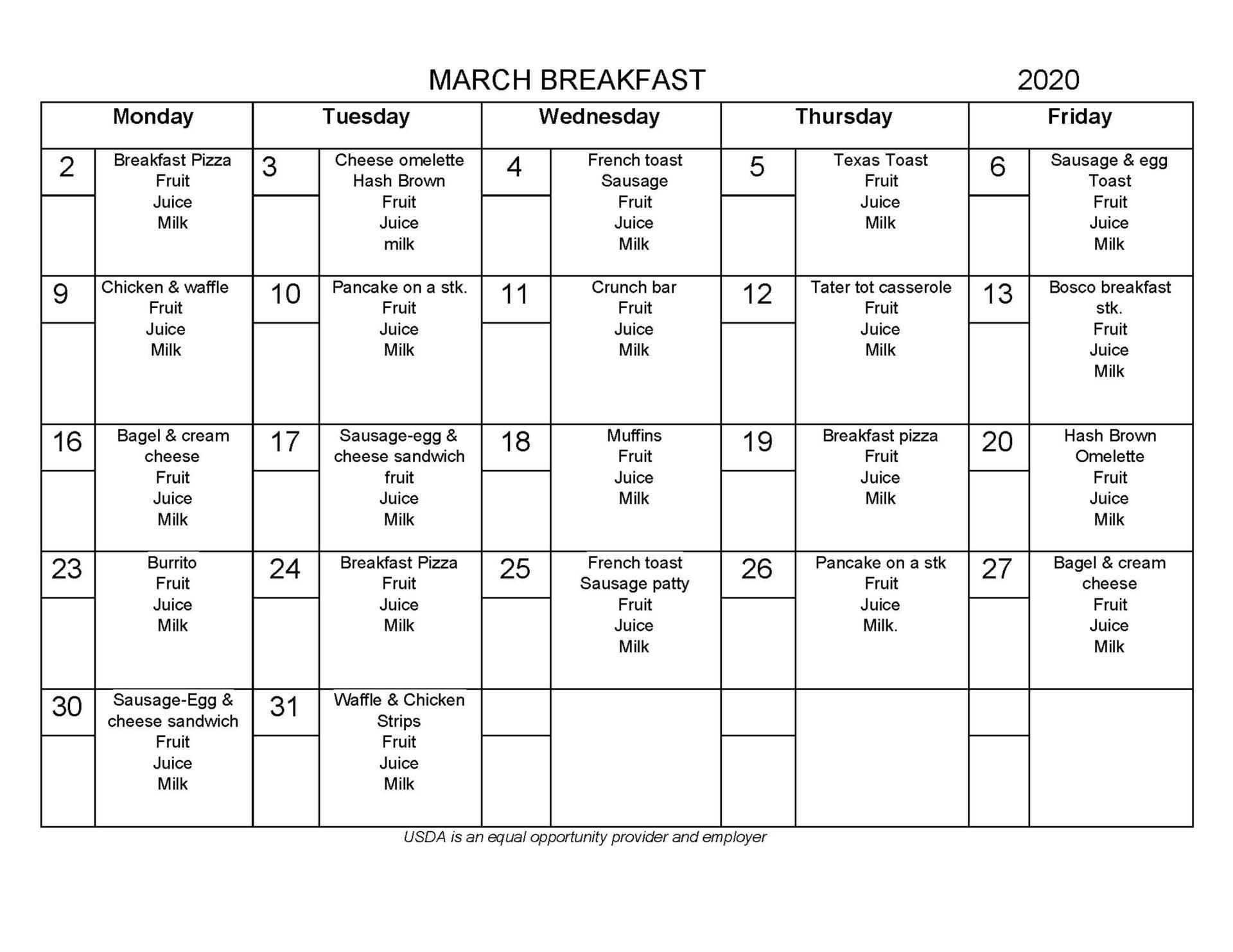 March Breakfast Menu