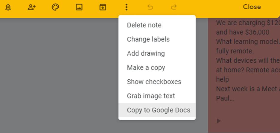 Google Keep integration with Google Docs