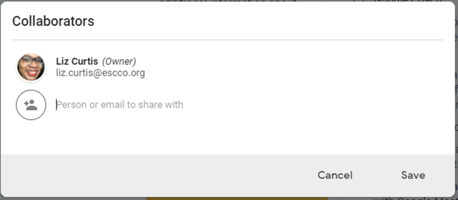 Google Keep Collaborators pane