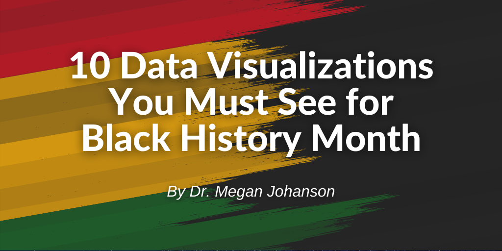 Banner displaying blog title '10 Data Visualizations You Must See for Black History Month' by Dr. Megan Johanson.