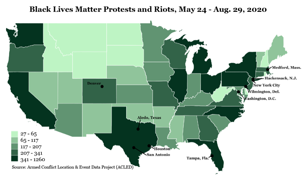 Map of the United States where states with more Black Lives Matter protests and riots are shown in darker green.