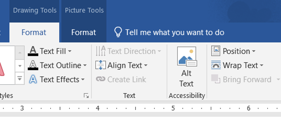 The Alternative Text tool in Microsoft Word