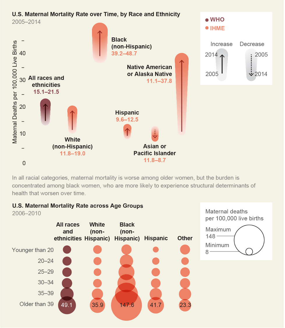 Chart where the change US maternal mortality rates between 2005 and 2014 is shown for each racial/ethnic group. Black women have the highest rate and Native American or Alaska Natives have the largest increase.