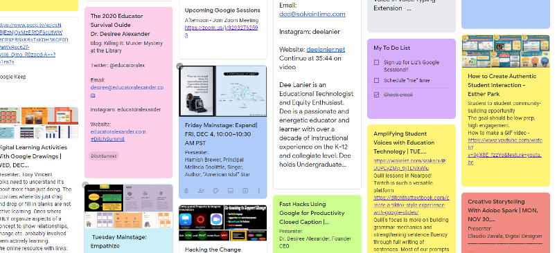 Colorful Google Keep notes
