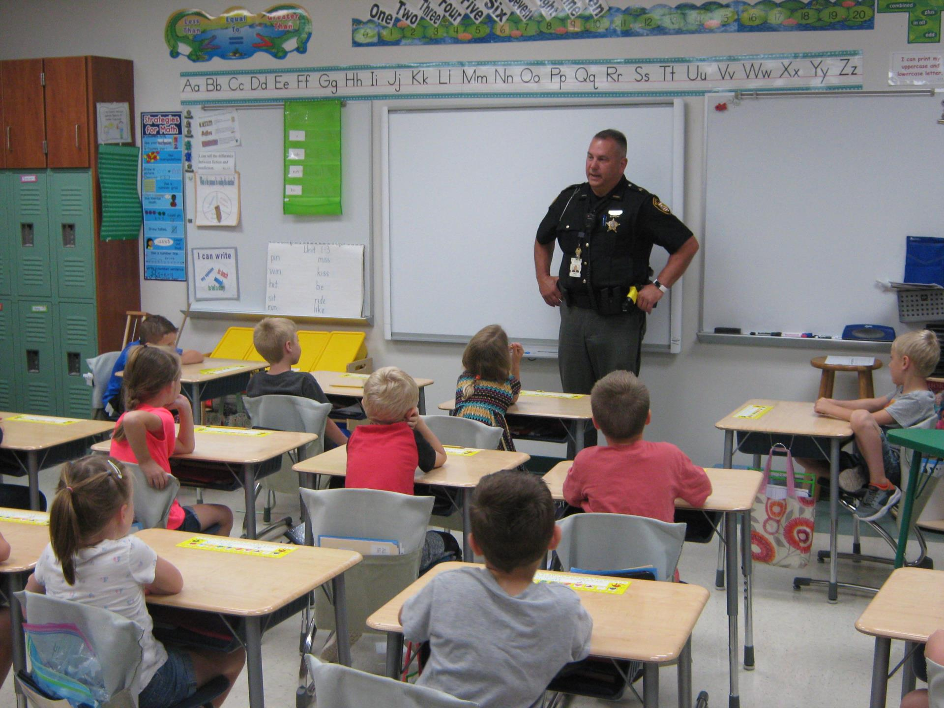 Sgt. Burke Presents to Mrs. Neal's Class