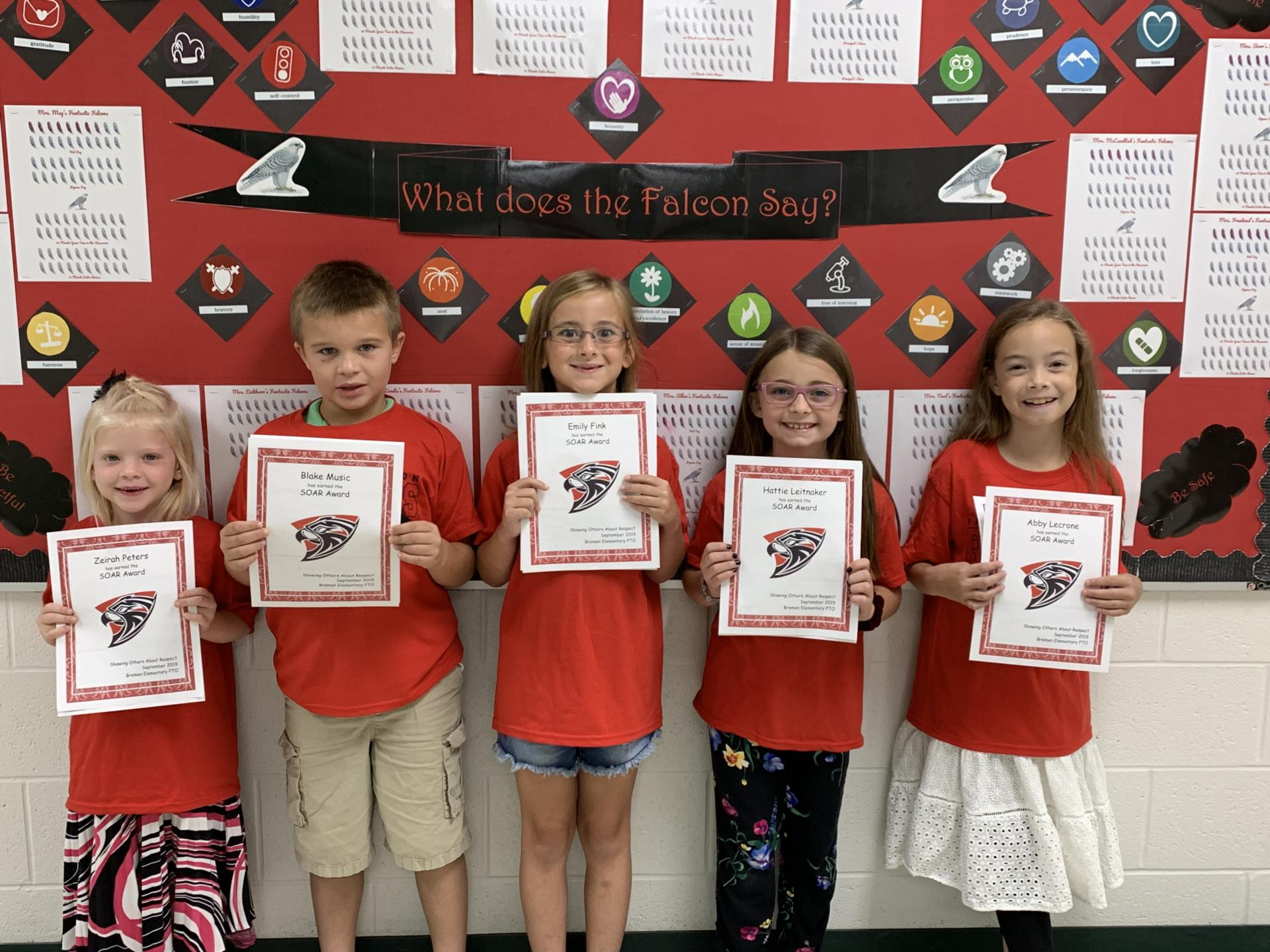 One student from each grade received the September SOAR award