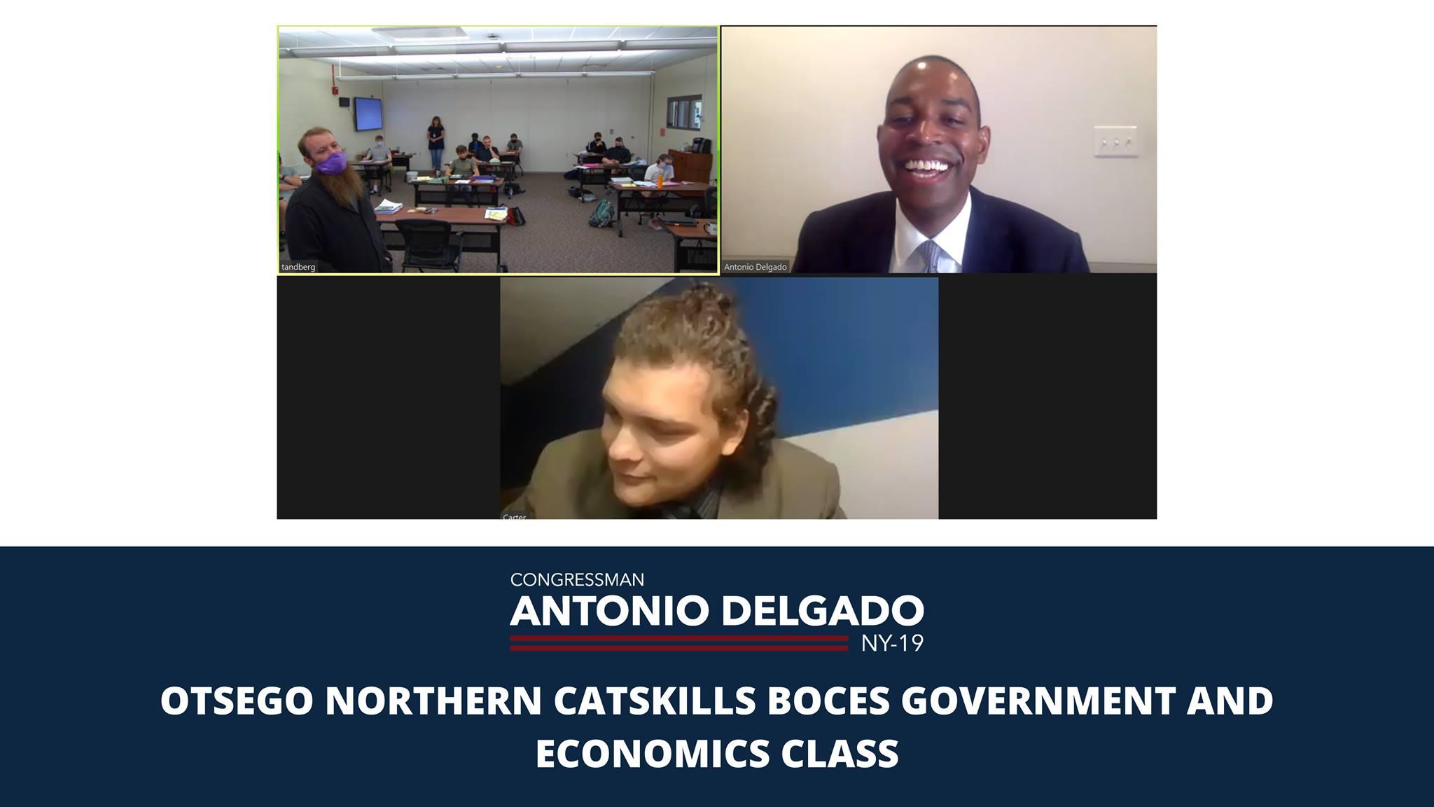 Congressman Antonio Delgado engaging in a virtual conversation with students.