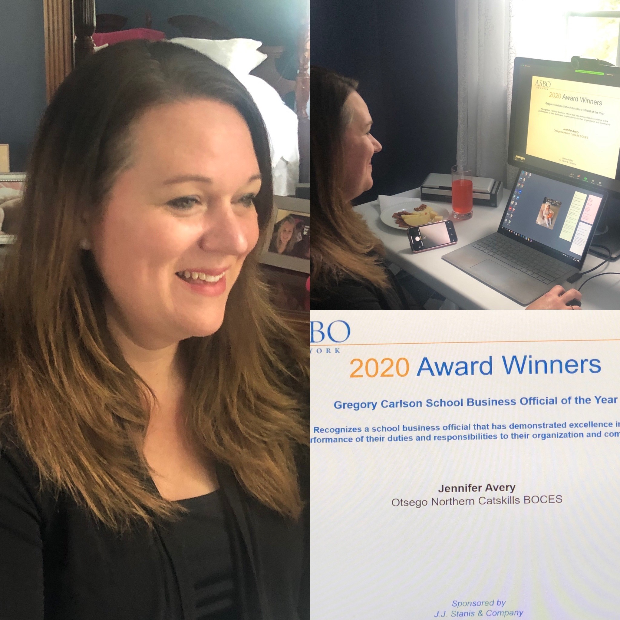 Dr. Avery accepting her award via Zoom